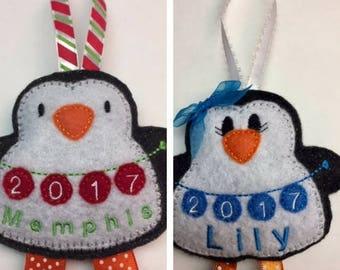 Christmas Ornament, Personalized Felt Penguin Ornament, Kids Personalized Ornament, Stocking Stuffer, Baby's 1st Christmas, Christmas Decor