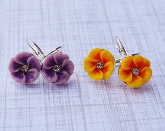 Pansy Flower Earrings, Violet Yellow Earrings, Dainty Dangle Earring, Vintage Earrings, Bridesmaid Gifts, Gift For Her