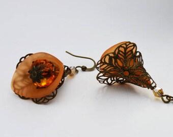 SALE-Orange Earrings Bronze Vintage Dangling Earrings Orange Calla Lily
