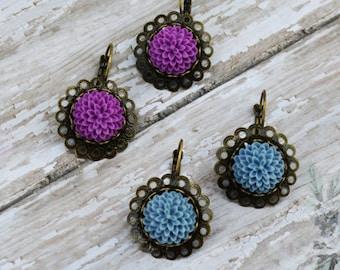 SALE- Dahlia Flower Earrings, Dainty Dangle Earring, Violet Gray Earrings, Vintage Earrings, Bridesmaid Gifts, Gift For Her