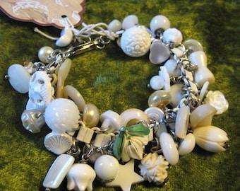 Buttons and Charms Bracelet / Glass/ Mother of Pearl/ Bakelite/ Plastic/ Carved Bone/ Rhinestones Charm Bracelet/ White Enamel Book Chain