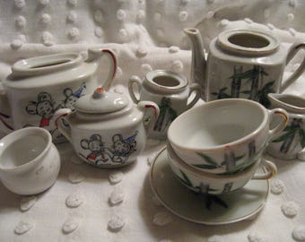 5 DOLLAR SALE// Vintage Child's Tea Set Pieces// China Play Tea Set// Stamped Japan// Goo Goo Potty with Eye Stamped Germany