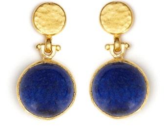 Gemstone Earrings - Lapis Lazuli - Semi precious Stone Earrings - Jade Earrings - Green - Fashion Jewelry - Gold Jewelry - Turkish Jewelry