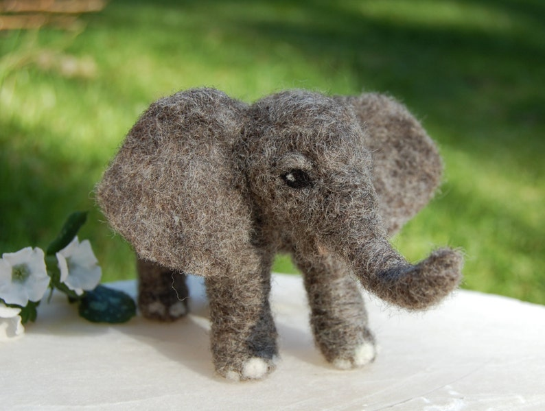 Felt Elephant Needle Felted Animal Needle Felted Elephants Baby Elephant Nursery Decor African Elephant Toy Elephant Baby Nursery.