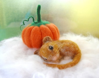 Needle Felted Mouse With Felted Pumpkin. Fall Decor. Felt Mouse. Autumn Waldorf Decor. Autumn Decorations. Fall Decorations. Felt Pumpkins