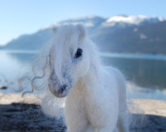 Needle Felted Horses, Needle Felted Pony, Felted Ponies, Felted White Horse, White Ponies Felted, Soft Sculpture Horse, Made To Order