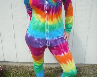 3b29948e683d Tie Dye Union Suit Adult Onesie