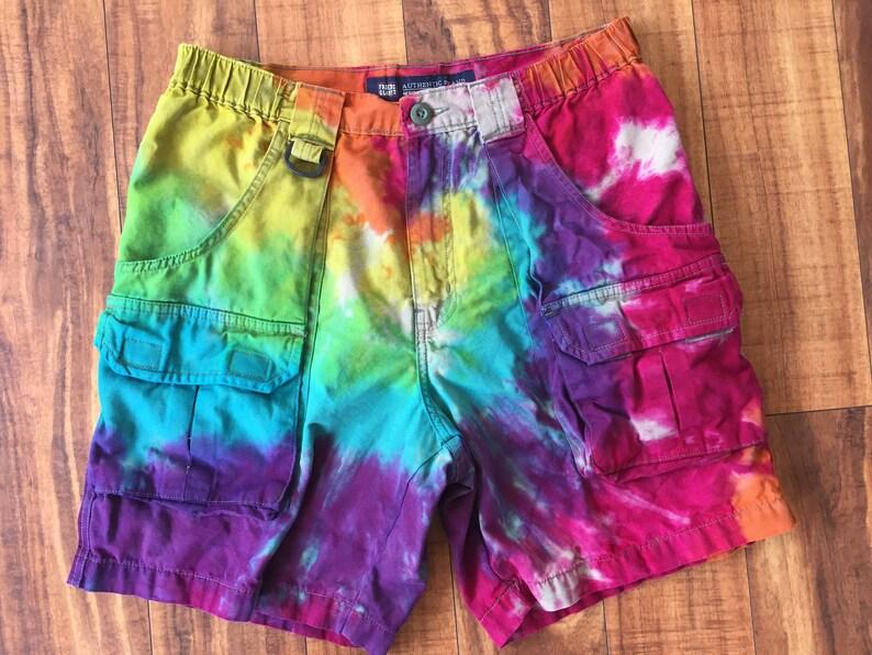 Size 30 upcycled Tie Dye Men/'s Cargo Shorts