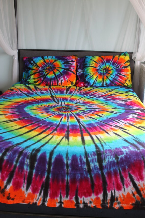 Tie dye Bed Sheet Set With Black Accents Twin Twin XL Full | Etsy