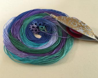 """Size 20 """"Dragon Scales"""" hand dyed cotton thread for tatting or crochet"""