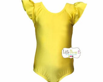 Yellow Leotard (Child) FLUTTER/RUFFLE Sleeve Leotard-Spandex/Lycra -Shiny