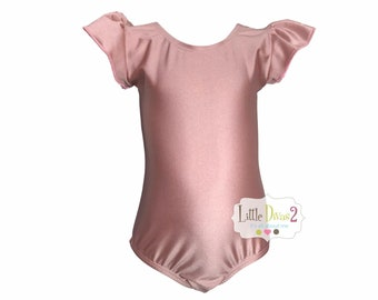 e40ef8a16c05 ROSE GOLD-Spandex Lycra-Shiny(Child) Flutter Ruffle Sleeve Leotard-Dance- Ballet