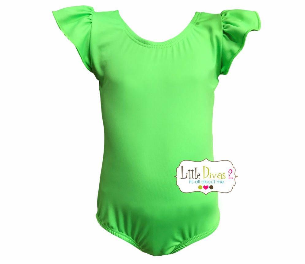 a3485ae8c079 Lime Green LeotardChild Flutter Ruffle Sleeve