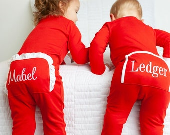 Monogrammed Christmas Pajamas, personalized girls Christmas outfit, monogram boy PJs, pima cotton, sk creations, zip Christmas Pjs,