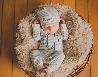 Baby boy coming home outfit, monogrammed, Personalized baby girl coming home outfit, newborn picture, romper, knot cap