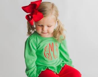 Girls Christmas outfit, monogrammed toddler Christmas outfit, girls clothing, picture outfit, ruffle pant and shirt, Girls gift, monag