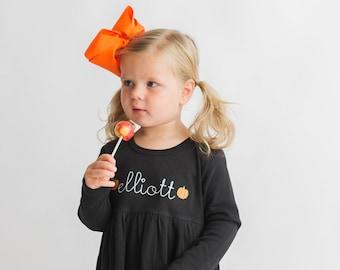 Girls Halloween outfit, girls fall dress, toddler monogrammed dress, personalized dress, girl clothing, monogram birthday gift, monag