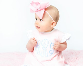 18990d89cb Baby girl clothing, monogrammed bloomer set, coming home outfit,  personalized girl clothing, summer clothing, ruffle