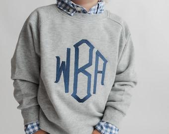 Monogrammed sweatshirt, toddler sweater, girls monogram shirt, boys personalized sweatshirt, fall clothing, winter clothing,