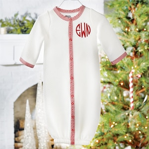babies monogramed christmas outfit christmas gown monogrammed gown personalized christmas sleeper converter gown newborn coming home - Mud Pie Christmas Outfit