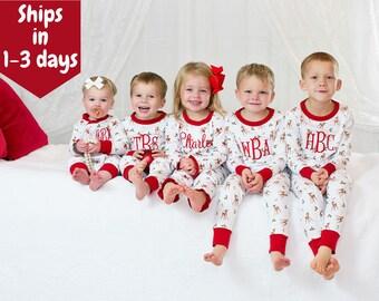 Personalized Christmas Pajamas, kids PJs, childrens pajamas, monogrammed, sk creations, pima cotton, zip, 2 piece