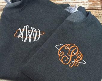 newest collection 2d7e3 8085d Monogrammed Tennessee Sweatshirt, Tennessee Vols Sweater, Monogrammed top,  ANY STATE AVAILABLE, state love shirt