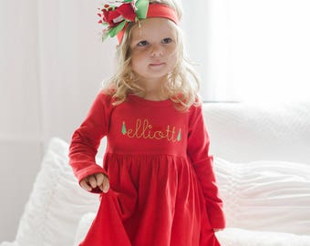 285fcf55a61e8 Girls Christmas outfit, girls holiday dress, toddler monogrammed dress,  personalized Christmas dress, girl clothing, monogram birthday gift,
