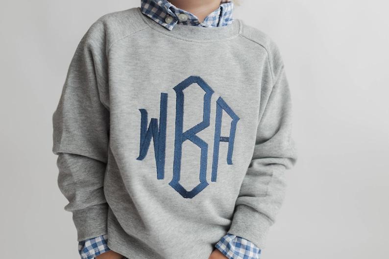 Monogrammed sweatshirt toddler sweater girls monogram shirt image 0
