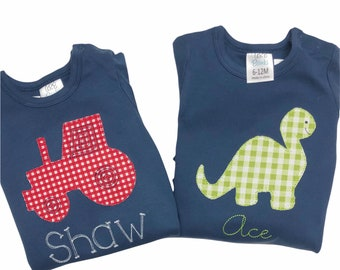 Monogrammed boys outfit, baby boys clothing, dino outfit, dinosaur outfit, tractor appliqué outfit, shirt, ARB