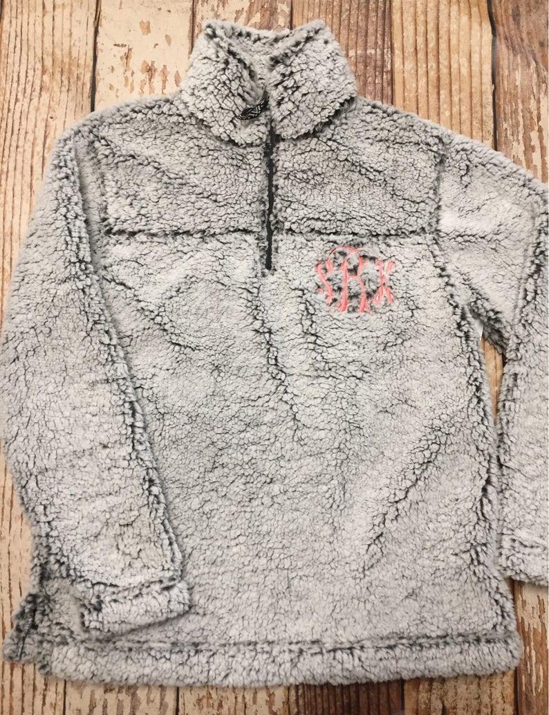 100785de6983 Monogrammed sherpa pullover jacket kids sherpa youth sherpa