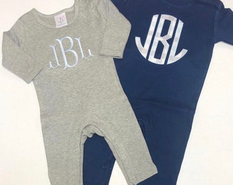 Boys monogrammed romper, personalized romper, baby boy clothing, sk creations, LTC