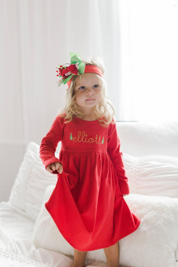 Toddler Christmas Outfit Girl.Girls Christmas Outfit Girls Holiday Dress Toddler Monogrammed Dress Personalized Christmas Dress Girl Clothing Monag Birthday Gift