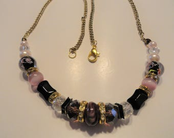 Cranberry Glass Beads Necklace Adjustable Chain