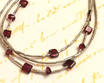 Fine Thai Silver 3 Strand Bracelet With Faceted Garnet Gemstones, Square and Nugget