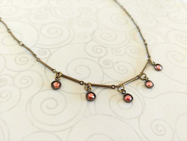 Delicate Pink Swarovski Crystals on an Antiqued Gold-Plated image 0