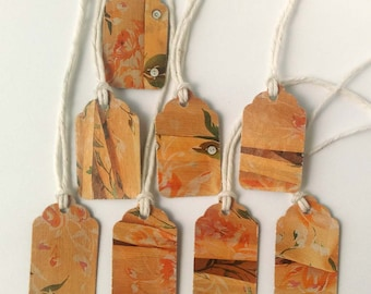 """8 Small Gift Tags  - 1.5"""" x 15/16"""" All Recycled Materials - Yellow Floral Design"""
