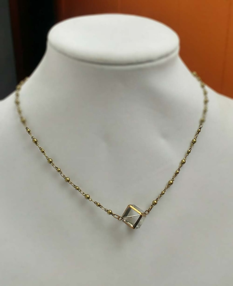 Cube Necklace With Gold Accents on a Gold-Plated Brass Ball /& Link Chain Necklace