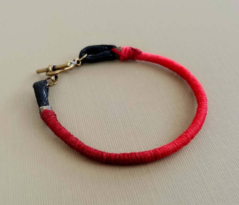 Friendship Bracelet Red Ombre on Black Cotton Cord Red image 0