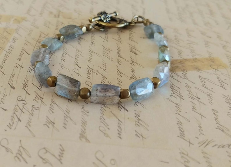 Gray Faceted Rectangle Labradorite Gemstone Bracelet with image 0