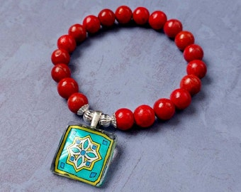 Catalina Tile Charm on Stretch Bracelet with Red Coral, Spanish, Mexican and Mediterranean Tile Inspired with Silver Accents Wanderluster