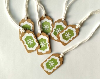 "6 Retro Snowflake Avocado Green and White Kraft Snowflake Christmas, Holiday Gift Tags 1  1/2"" x 15/16"" Made Using All Recycled Materials"