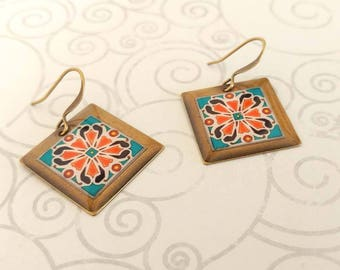 Catalina Turquoise and Pink Tiles on Gold Plated Brass Earrings, Spanish, Mexican, Catalina and Mediterranean Tile Inspired Square Earrings