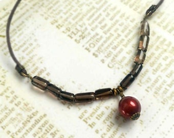 Burgundy Red Swarovski Crystal Pearl with Smoky Quartz Gemstones and Gold Plated Brass on Brown Waxed Cotton Cord