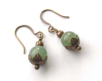 Light Jade Green Aventurine Gemstones Wrapped Brass Bronze, Antiqued Gold Dangle Earrings