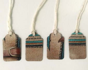 """4 Small Gift Tags  - 1.5"""" x 15/16"""" All Recycled Materials - Southwest Woven Bright Blue, Black, Brown"""