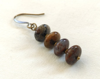 Stacked Brown Stone Wrapped Brass Bronze, Antiqued Gold Dangle Earrings