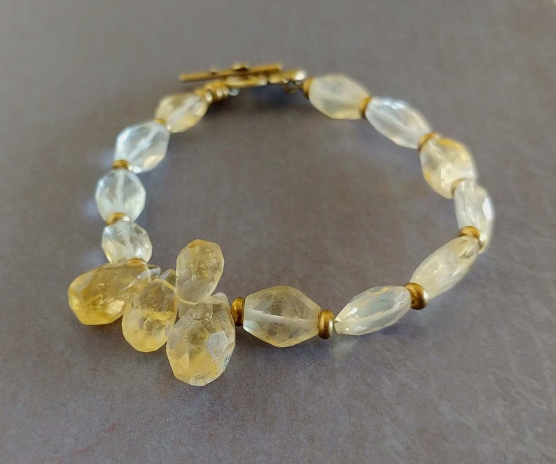 Faceted Citrine Gemstones Pale Yellow Bracelet with Antiqued image 0