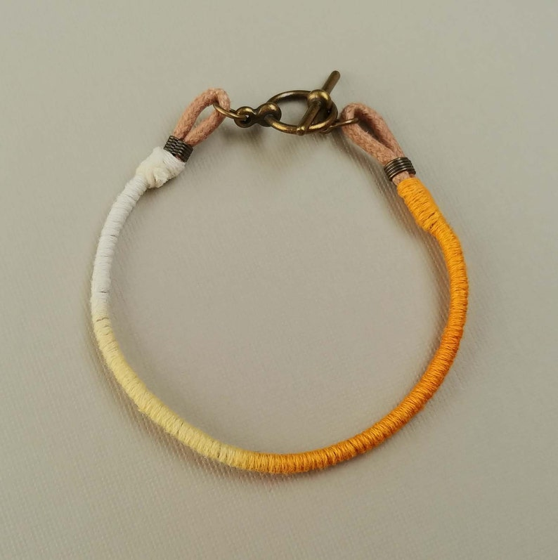 Yellow Ombre on Tan Cotton Cord Yellow Friendship Bracelet Friendship Bracelet with Clasp Friendship Bracelet