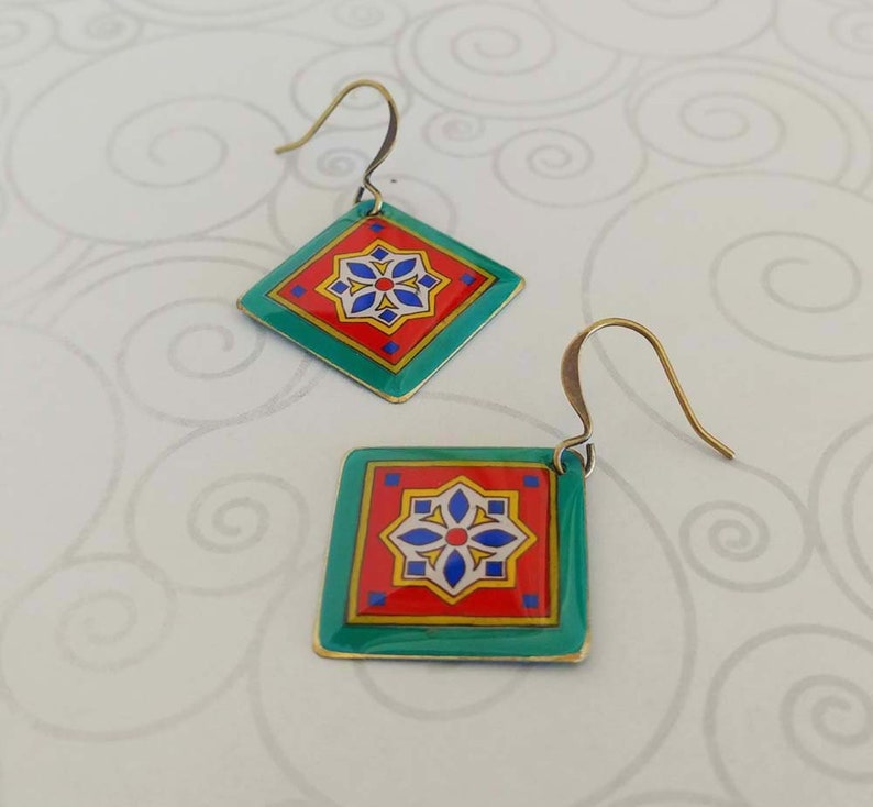 Orange and Blue Tiles on Gold Plated Brass Earrings Spanish image 0