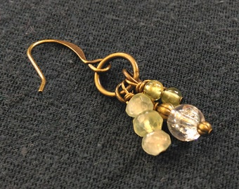 Peridot, Brass and Glass, Pale Green Wire Wrapped Brass Bronze Antiqued Gold Dangle Earrings